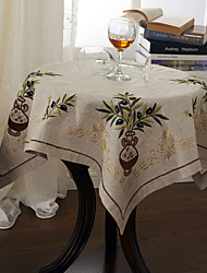 Olive Embroidery Tablecloth 33*33 Inch (85*85cm) Embroidery Linen Tablecloth