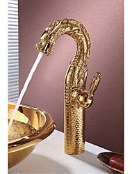 High-End Luxury Series of Pure Hand-Made Brass Dragon Shape Bathroom Sink Faucet - Gold