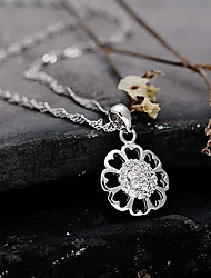 Pendants Sterling Silver Flower Sunflower Basic Design Flower Style Silver Jewelry Daily Casual 1pc