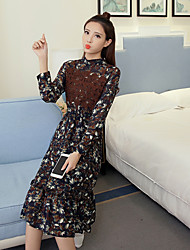 Sign spot spring 2017 Korean ladies long-sleeved floral chiffon lace dress Slim temperament long section