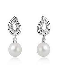 Stud Earrings Pearl Pearl Alloy Natural Leaf White Gray Copper Jewelry Daily 1 pair