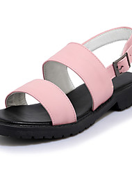 Sandals Spring Summer Fall Comfort Light Soles Leatherette Outdoor Dress Casual Flat Heel Buckle Black Green Pink White
