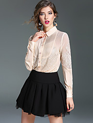 Women's Work Simple Spring Blouse,Patchwork Embroidered Shirt Collar Long Sleeve White Beige Black Silk Thin