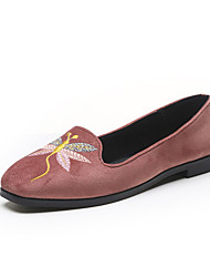 Loafers & Slip-Ons Spring Other PU Casual Flat Heel Stitching Lace Flower Black Pink Gray