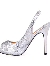Sandals Summer Club Shoes Synthetic Wedding Party & Evening Dress Black Silver
