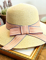 Women's Fashion Sweet Floppy Straw Hat Sun Hat Beach Cap Folding Bowknot Casual Holiday Outdoors Summer