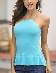 Women's Casual/Daily Beach Club Sexy Cute Street chic Summer Tank Top,Solid Halter Sleeveless Blue Red White Acrylic Medium