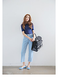 FIG Korean official website washed high waist loose burrs nine female wide leg jeans