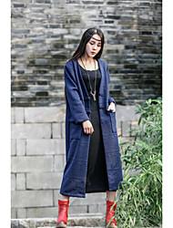 Manteau Femme,Couleur Pleine Décontracté / Quotidien Chic de Rue Manche Longues Col châle Nettoyage à sec uniquement Coton Laine Long
