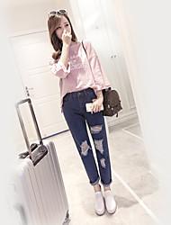 frescas da primavera 2017 modelos de explosão jeans escuro futuro fibra