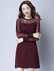 Tee Shirt Robe Femme Décontracté / Quotidien Vintage,Couleur Pleine Col Arrondi Midi Manches Longues Rouge Noir Vert Coton Polyester