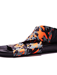 New Men Unique Style Sandals Fashion Youth Trend PU Casual Flat Heel GD The Same Paragraph