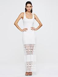 Damen Hülle Kleid-Lässig/Alltäglich Sexy / Einfach Patchwork U-Ausschnitt Maxi Ärmellos Weiß / Gelb Polyester Sommer Mittlere Hüfthöhe