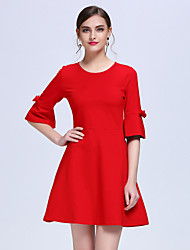 YHSPWomen's Going out Formal Party Cute A Line DressSolid Round Neck Above Knee  Sleeve Red Black Cotton Polyester Spring Mid Rise