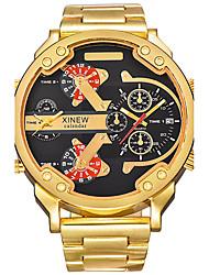 Masculino Relógio Militar Relógio Elegante Relógio de Moda Relógio de Pulso Quartzo Calendário Dois Fusos Horários Punk Mostrador Grande