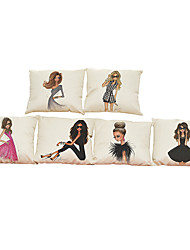 Set of 6  Long hair girl  pattern Linen Pillowcase Sofa Home Decor Cushion Cover (18*18inch)