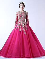 Formal Evening Dress Ball Gown Jewel Court Train Lace Tulle Polyester with Beading Flower(s) Lace Pearl Detailing Bandage
