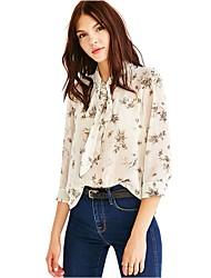Womens's Plus Size V Neck OL Fashion Bow Chiffon Floral Print Long Sleeve Blouse