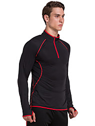 Vansydical® Long Sleeve Running Tops Quick Dry Spring Summer Sports Wear Running Terylene Loose Black Classic