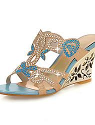Baby-Sandalen-Lässig Kleid-maßgeschneiderte Werkstoffe Glanz-Keilabsatz-Andere Club-Schuhe Neuheit-Blau Gold
