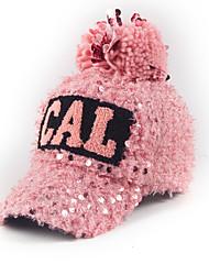 Women Autumn Winter Sequins Alphabet Printed Hair Ball Baseball Warm Cap