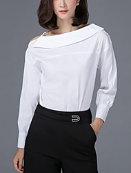 Women's Slim Strapless Spring Shirt Solid Boat Neck Long Sleeve White Black Cotton  Medium