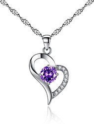 Heart Necklace Fashion Heart Pendant Necklace Love Crystal Necklace 0365#