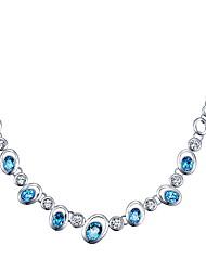 Colliers chaînes Cristal Forme de Cercle Cristal Basique Pendant Européen Elegant Mode Bleu de minuit Bijoux Pour Quotidien Décontracté