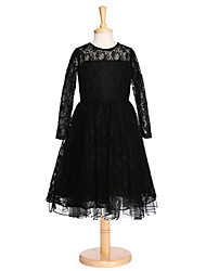 Ball Gown Knee-length Flower Girl Dress - Lace Long Sleeve Jewel with Lace