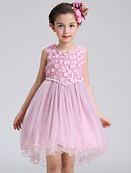 Ball Gown Asymmetrical Flower Girl Dress - Cotton Satin Tulle Sleeveless Jewel with Bow(s) Embroidery Pearl Detailing