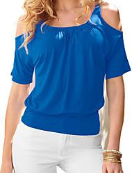 Feminino Camiseta Praia Casual Simples Activo Primavera Verão,Estampado Azul Vermelho Branco Preto Amarelo Algodão Decote RedondoManga