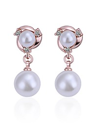 Drop Earrings Imitation Pearl AAA Cubic Zirconia Pearl Imitation Pearl Zircon Silver Plated Rose Gold Plated Alloy Gold Silver Jewelry