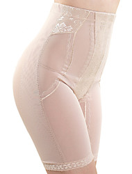 Women's Sexy Jacquard Maternity Postpartum Slimming Corset High Waist Elasticity Nylon Beige/Black Shaping Panties
