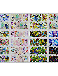 1pcs 12design Colorful Butterfly Nail Art Sticker DIY Water Transfer Decals Full Wrap Nail Art Design A1297-1308