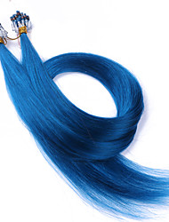 10A Grade Micro Loop Ring Beads Hair extensions Blue Color Silky Straight 100grams Brazilian Virgin Human Hair Braids