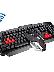 2.4GHz Wireless Multimedia Ergonomic Usb Gaming Keyboard Metal  6 Buttons Wireless Mouse Sets For Laptop / Computer