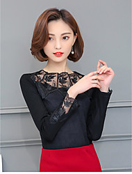 Sign ladies new winter female long-sleeved lace shirt plus thick velvet lace mesh shirt bottoming small shirt
