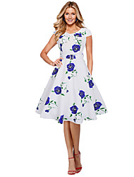 Women's Casual/Daily Formal Simple Loose Sheath Dress,Floral Round Neck Knee-length Short Sleeve Polyester Blue Red Purple All SeasonsLow