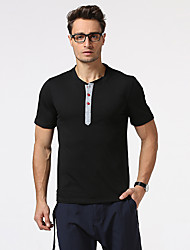 Men's Casual/Daily Formal Holiday Simple T-shirt,Solid Button Down Collar Short Sleeve Blue White Beige Black Brown Gray Cotton
