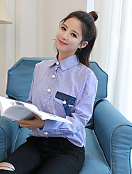 Sign BF wind pearl clasp blue striped long-sleeved shirt female loose cotton long section of the bat sleeve shirt