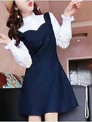 Для женщин На каждый день 16-летие Школа Свидание Весна Осень Рубашка Платья Костюмы Воротник-стойка,Классический и неустаревающийРазные