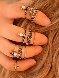 10pcs/Set Gold and Silver Color Flower Midi Ring Sets for Women Jewelry Alloy Resin Midi Rings 1pc5 Gold