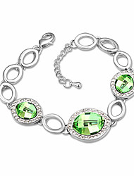 Women's Chain Bracelet Crystal Crystal Alloy Natural Fashion Round White Purple Red Green Jewelry 1pc