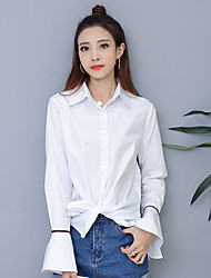 Sign loose long-sleeved white shirt female Korean leisure wild 2017 spring cotton long paragraph bottoming shirt inch