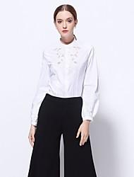 Dámské Výšivka Jdeme ven Společenské Práce Sexy Sofistikované Košile-Jaro Polyester Rolák Dlouhý rukáv Střední