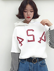 Sign spring new Korean student letters spell striped cashmere hooded hedging long-sleeved sweater women