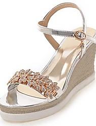 Sandalen-Kleid Lässig-PU-Keilabsatz-Komfort-Schwarz Rosa Silber Gold