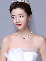 Pendentif de collier Perle imitée Strass Imitation de perle Alliage Pendant Mode Ajustable Beige Bijoux PourMariage Soirée Occasion