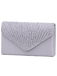 Women Bags All Seasons Satin Evening Bag with Crystal/ Rhinestone for Wedding Event/Party Formal Black Silver Navy Blue Almond Wine