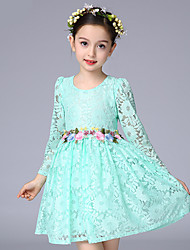 Ball Gown Short / Mini Flower Girl Dress - Cotton Lace 3/4 Length Sleeve Jewel with Embroidery Sash / Ribbon